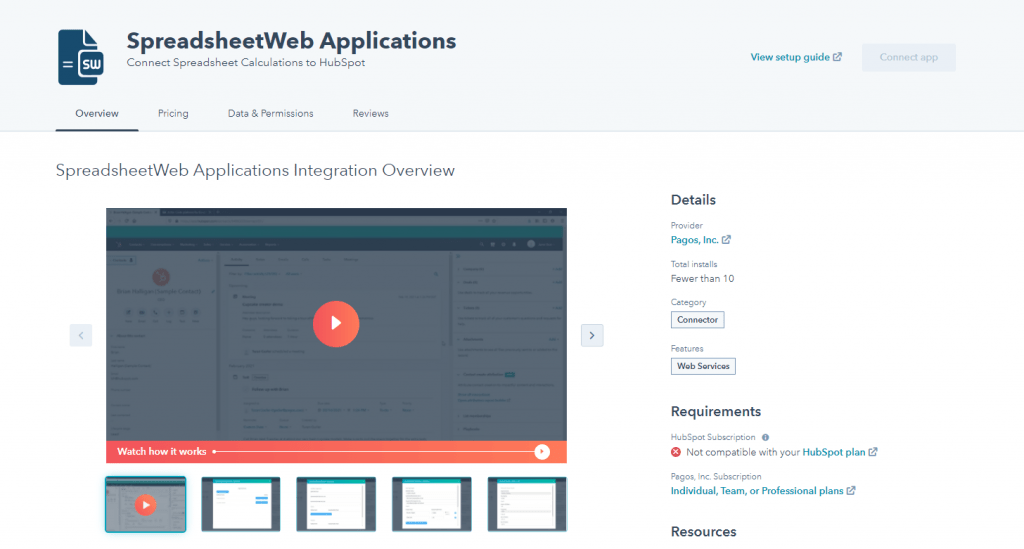 Install SpreadsheetWeb to HubSpot